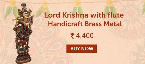 Lord Krishna With Flute Handicraft Brass Metal